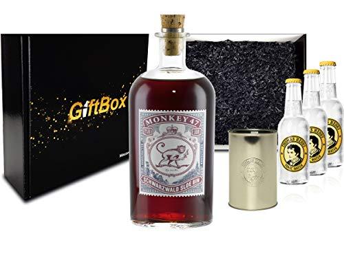 Gin Tonic Set Giftbox Geschenkset - Monkey 47 Schwarzwald Sloe Gin 0,5l (29% Vol) + 3x Thomas Henry Tonic Water 200ml inkl. Pfand MEHRWEG + Becher -[Enthält Sulfite]