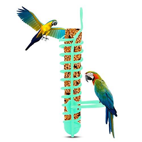 Comedero en Espiral para pájaros Comedero para pájaros Alimento de Frutas Percha Soporte Colgante Fruta Verdura Contenedor de mijo Alimentadores de pájaros Aves Canasta de Alimentos(Verde)