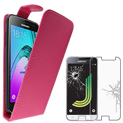 """ebestStar - Funda Compatible con Samsung J3 2016 Galaxy SM-J320F Carcasa Abatible PU Cuero, Ultra Slim Case Cover, Rosa + Cristal Templado Protector [Aparato: 142.3x71x7.9mm 5.0""""]"""
