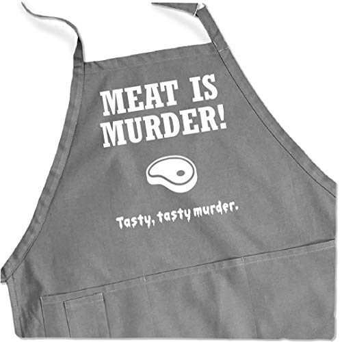 ApronMen - Meat is Murder - Funny BBQ Apron for Dads - 1 Size Fits All Chef Quality Cotton 4...