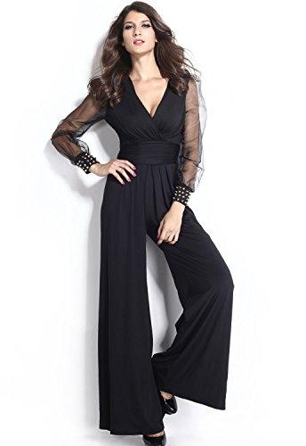 TOUVIE Damen Jumpsuit Sexy V-Ausschnitt Lang Netz Ärmel Schwarz Elegant Weites Bein Overalls mit Verzierten Manschetten Schwarz Gr.46/XL