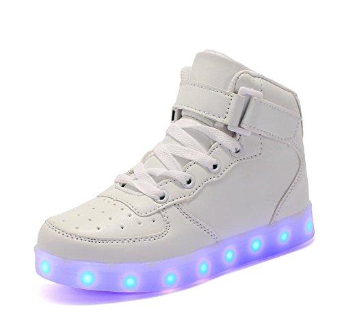 Rojeam Unisex Erwachsene High-Top LED Schuhe Sportschuhe USB Lade Outdoor Leichtathletik Beiläufige Paare Schuhe Sneaker Für Damen Herren Jungen Mädchen Kinder Weiß 36 EU