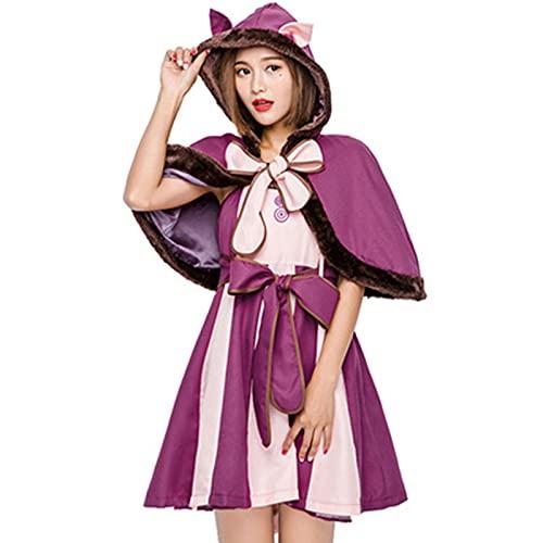 ZXD Personaje de Cuento de Hadas Gato de Sonrisa púrpura Cosplay Gato Sonriente Disfraz de Halloween para Adultos,4.9ft