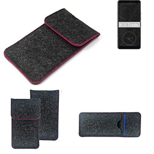 K-S-Trade Filz Schutz Hülle Für HTC Exodus 1 Schutzhülle Filztasche Pouch Tasche Hülle Sleeve Handyhülle Filzhülle Dunkelgrau Rosa Rand