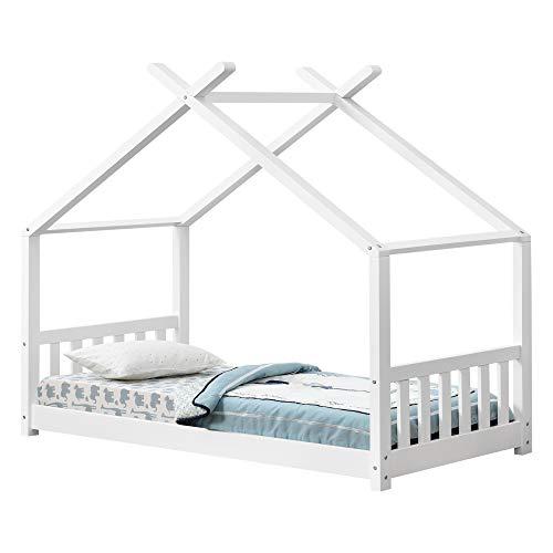 [en.casa] Cama para niños pequeños Cama Infantil 160x80cm Estructura Forma Casa de Madera Pino con reja de Seguridad Blanco Mate