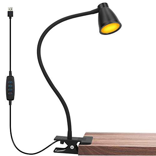 Lzonunl Leselampe Buch Klemme - 14 LED Klemmlampe Blau Licht Blockierung Bett Klemme, 3-Farbtemperatur, 10 Helligkeit dimmbar, Auto-Off & Speicherfunktion, Augenschutz Schreibtischlampe USB Bettlampe