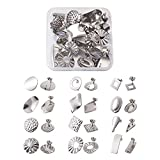 Cheriswelry Pendientes de acero inoxidable con forma geométrica y cuadrados, redondos, 24 unidades, con forma de mariposa, para hacer aretes