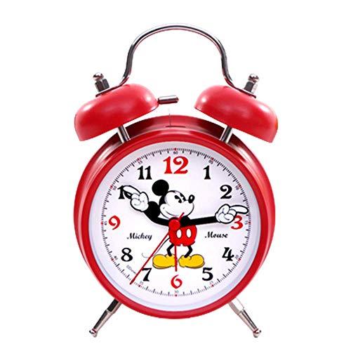 Sveglia Mickey Mouse, Sveglie per Bambini Orologio Silenzioso con Luce Notturna E Allarme Forte, Facile da Impostare E Funziona A Batteria, Simpatico Orologio A Doppia Campana Decorativo,Rosso