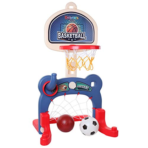 3in1 Kids Sports Center: Basketball Hoop Soccer Goal Ring Toss Playset  Indoor and Outdoor Activity Center for Toddlers  Toys for Active Kids