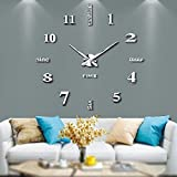 Silenciar DIY Frameless Gran Reloj de Pared Números Romanos 3D Relojes de Pared Espejo Pegatina para Ministerio del Interior Decoraciones - 2 Años de Garantía (Plata-014)