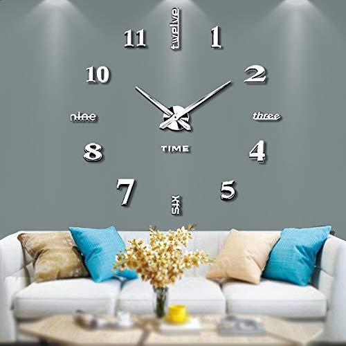 Silenciar DIY Frameless Gran Reloj de Pared Números Romanos 3D Relojes de Pared...