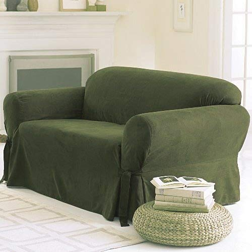 Grand Linen Soft Micro Suede Solid SAGE Green Sofa Slipcover - 1 Piece Couch Cover