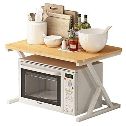 ZGQA-AOC Estante de la cocina del horno microondas Lixin bastidor de acero al carbono en suelo el borde no lastima a los Antioxidantes Mano (color: beige, tamaño: 58 * 40 * 38.5cm) (Color: Beige, tama