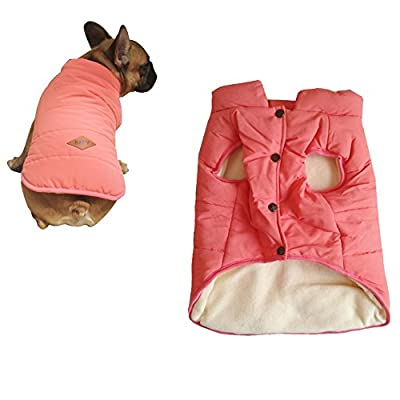 Tineer Hooded Pet Clothing Cute Pet Clothing Warm Hooded French Bulldog Warm Vest Suit (XXL, Pink)