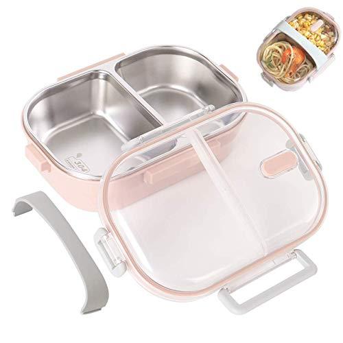 O-Kinee Lunch Box, Porta Pranzo, 650ml Kids Bento Box Portapranzo Acciaio Inox con 2 Scomparto Sigillato, Contenitore per Bambini o Adulti (Rosa)