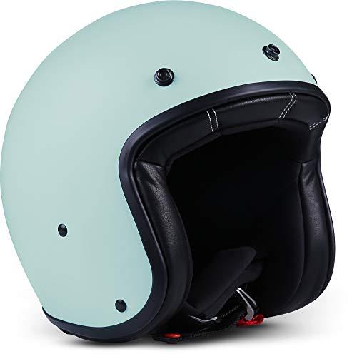 Rebel R9 Motorrad-Helm Roller-Helm, ECE Fiberglas SlimShell Tasche, S (55-56cm), Basil