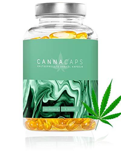 CANNACAPS - Premium Hanföl Kapseln - Hochdosierte 1000mg Cannabis Sativa pro Kapsel, kaltgepresstes Omega 3-6-9 Hanfsamen-Öl, Laborgeprüft - Hergestellt in Deutschland, 120 Kapseln