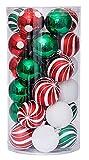 30PCS Christmas Balls Ornaments, Shatterproof Holiday Bulbs Festive Wedding Hanging Ornaments Christmas Tree Decoration (Red&Green)