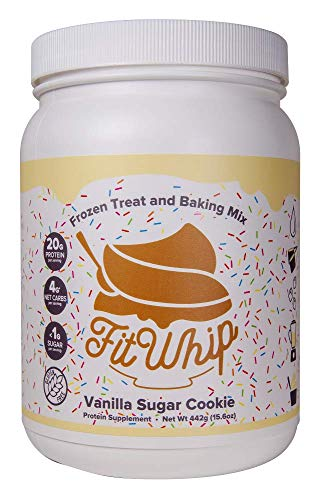 Fit Whip Frozen Treat and Baking Mix, Vanilla Sugar Cookie Flavor | High Protein | Low Carb | High Fiber | Low Sugar | Gluten Free | Keto Friendly | Macro Friendly | WW Friendly | 13 Servings