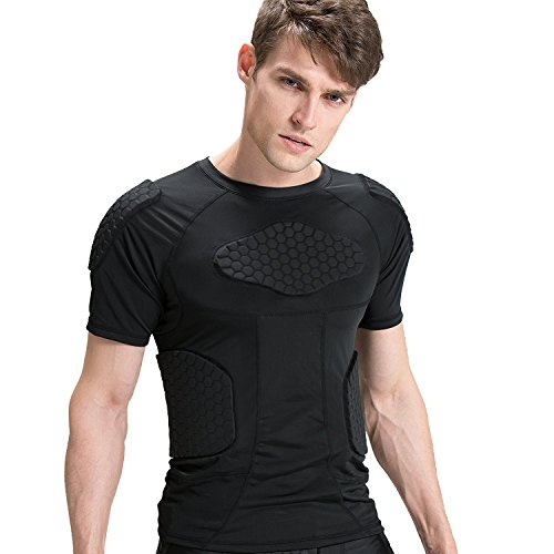 Men's Boys Padded Compression Shirt Rib Protector for Football Paintball (Black, L)