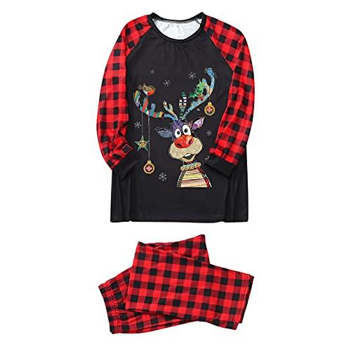 Hengyouhui Schlafanzug Winter Pyjama Set Zweiteiliger Langarm Nachtwäsche Hausanzug Für Mutter Herren Damen Kiner