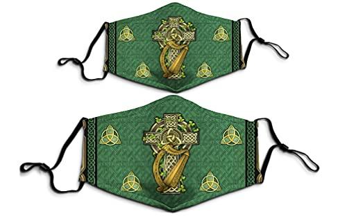 1PCS Irish Celtic Knot Cross 3D Printed Cloth Face Mask Saint Patrick's Day Gift for Women Men Adult
