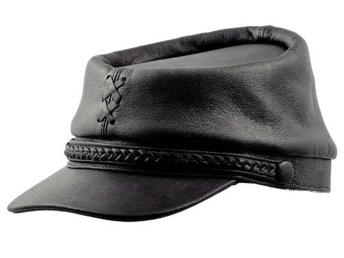 Sterkowski Echt Leder Bürgerkriegs Sezessionskrieg Kepi Mütze 61 cm Schwarz