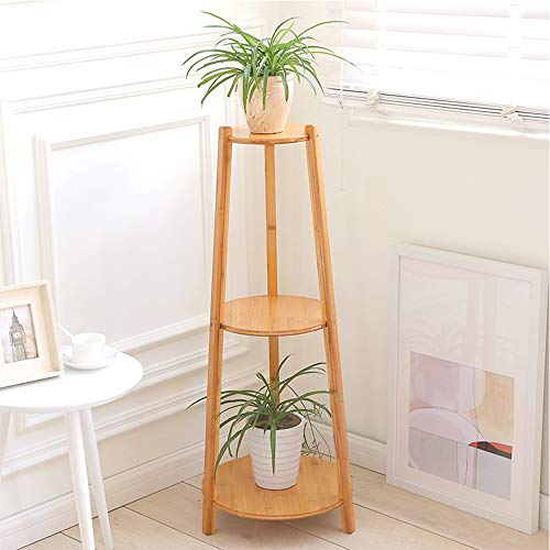 JKXWX Plantenstandaard, 3 etages, bloementrap van bamboe, balkon voor tuin, buiten, met overkapping voor planten.
