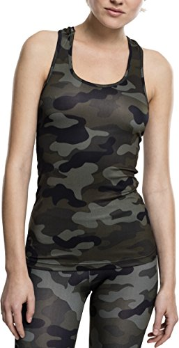 Urban Classics Ladies Top Camiseta, Multicolor (Wood Camo 396), S para Mujer