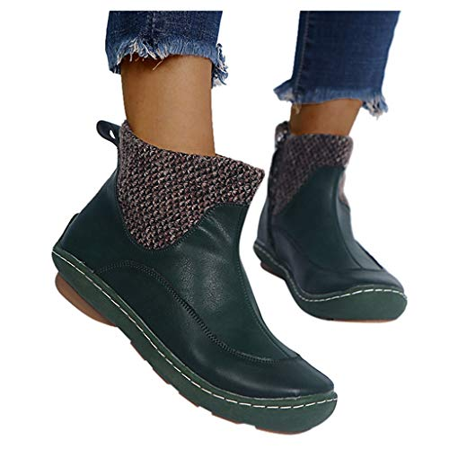 Women Vintage Leather Shoes Flat Ankle Serpentine Print Short Booties Round Toe Side Zip Boots Green