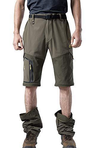 Mr.Stream Sports 2-in-1 Outdoor Quickdry viele Taschen Herren Zip Off Hose Short oder Lang X-Large Green