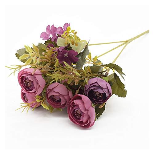 lliang Fleur Artificielle Thé Bud Bouquet 5 fourchettes 6 Têtes Soie Fleurs Accueil Décoration Accessoires DIY Craft Jardinage Salon Faux Fleurs Mariage (Farbe : 5)