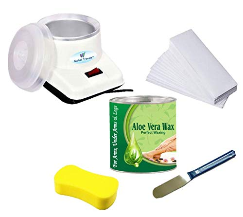 Global Trends 'Wax Heater Machine, Full Body Aloe Vera Wax (600 g), Waxing Strips (90GSM) (90 Strips), Wax Applicator Knife and Cleansing Sponge' Hair Removal Waxing Kit Combo Set for Women
