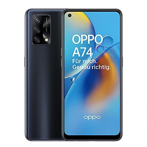 OPPO A74 Smartphone, 6,4 Zoll FHD+ AMOLED Display, 5.000 mAh Akku mit 30W VOOC 4.0 Schnellladen, 48 MP Dreifachkamera, Qualcomm Snapdragon 662, 6 GB RAM, 128 GB Speicher, ColorOS 11.1, Prism Black