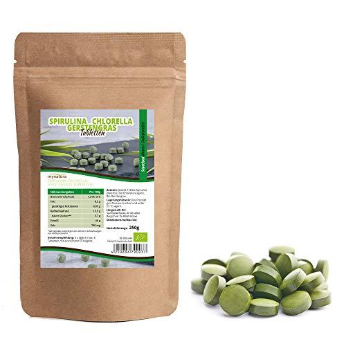 Mynatura Bio Spirulina + Chlorella + Gerstengras Mix Tabletten 250g I Algen I Superfood I Rohkostqualität I rein pflanzlich I beste Rohkostqualität I Hoher Eiweißanteil I Protein I DE-ÖKO-044 I 250g