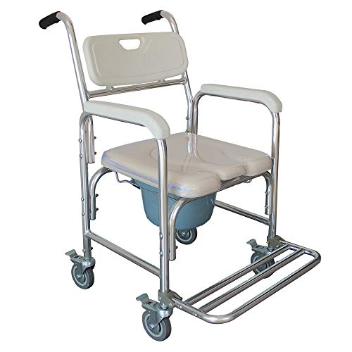 SSLine Aluminum Shower Chair Bedside Commode w/Casters and Padded Seat, Rolling Transport Chair Lockable Wheelchair Bedside Toilet Seat for Handicap and Seniors