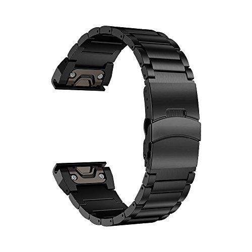 LDFAS Fenix 6X/5X Plus Band, Sport Quick Release Easy Fit 26mm Stainless Steel Metal Bands Safety Buckle Compatible for Garmin Fenix 6X/6X Pro/5X/5X Plus/3/3HR Smartwatch, Black