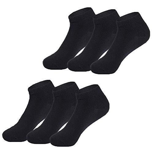 Falechay Sneaker Socken Herren Damen 6 Paar Halbsocken Kurze Atmungsaktive Baumwolle-Schwarz-39-42