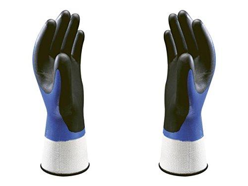 SHOWA 377, Revestimiento de Espuma de nitrilo, Nitrilo, Uso general, Azul con palma negra, 8/L