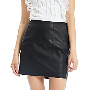 Fahsyee High Waist Casual Zip PU Slim Plus Size Pencil Skirt 3
