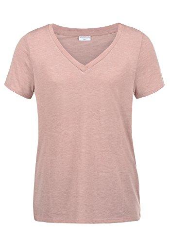 ONLY Leona Damen T-Shirt Kurzarm Shirt Mit V-Ausschnitt, Größe:M, Farbe:Woodrose