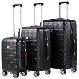 Monzana Set de 3 Valijas de Viaje Exopack Negro 40L 80L 105L Juego de Maletas con Ruedas y Mango telescópico