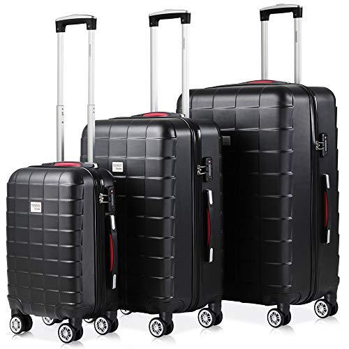 Monzana Exopack 3er Set Koffer | Schwarz M, L, XL | TSA Schloss, Gel-Griff | Reisekoffer Rollkoffer Hartschale Trolley