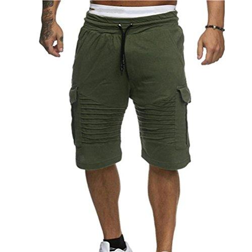 OSYARD Herren Shorts Badehose Breathable Beach Mid Zipper Surfende Sporthosen(3XL, Grün)