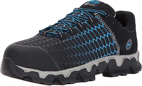 Timberland PRO Men's Powertrain Sport Alloy Toe EH Industrial & Construction Shoe, Black Ripstop Nylon with Blue, 12 M US