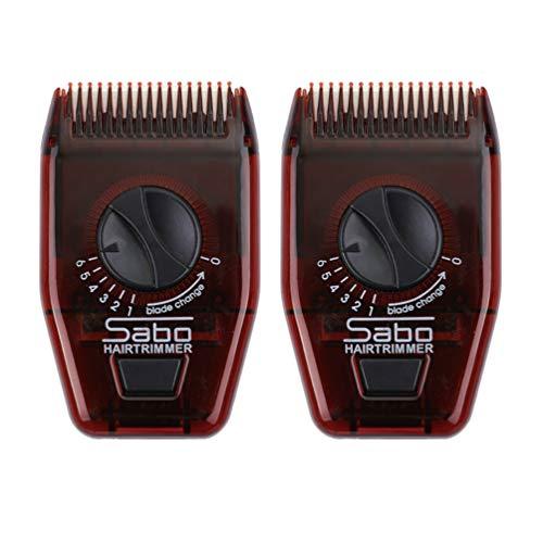 Minkissy 2 Stück Manueller Haarschneider Kamm Reise Mini Verstellbarer Haarkamm Manueller Haarschneider Friseur Kamm für Mann Frau (Dunkelrot)
