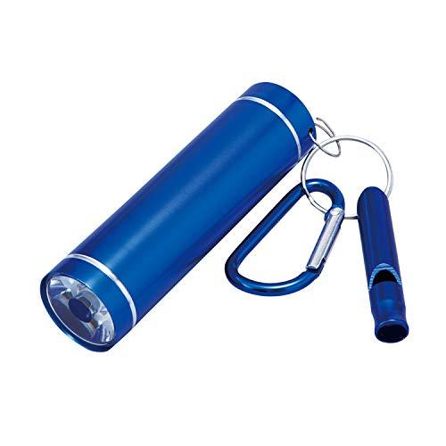ホイッスル付LED懐中電灯 ブルー 笛 ライト 緊急 避難 防災 防犯 アウトドア 登山 便利 コンパクト