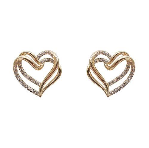 Yhhzw Pendientes De Botón De Diamantes De Imitación De Corazón Hueco Doble Dulce Encantador Para Mujer Pendientes De Fiesta De Joyería De Moda