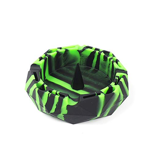 X-Value Black/Green Geometric Silicone Ashtray Eco-Friendly Portable Unbreakable Tabletop Tray for Cigarettes, Blunts, Most Cigars, Cigar, Lighters, Rolling Paper Minimalist Modern Style Decorative