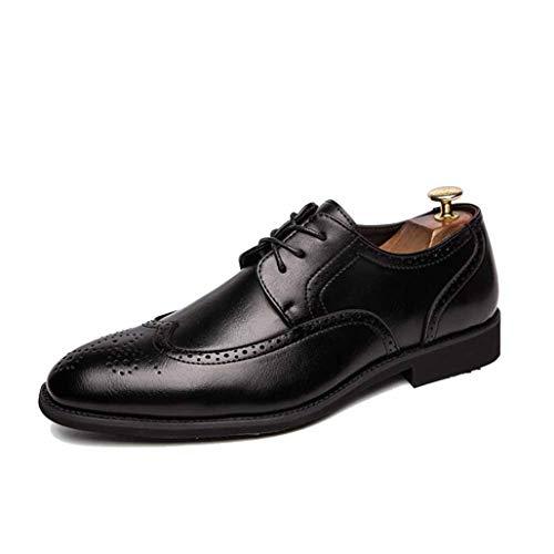 DJiess Männer Kleid Leder Schuhe Mode Geschnitzte Brogue Schuhe Einfarbig Lace Up Spitz Wohnungen Plus Größe 47 Business Casual Schuhe Für Männer